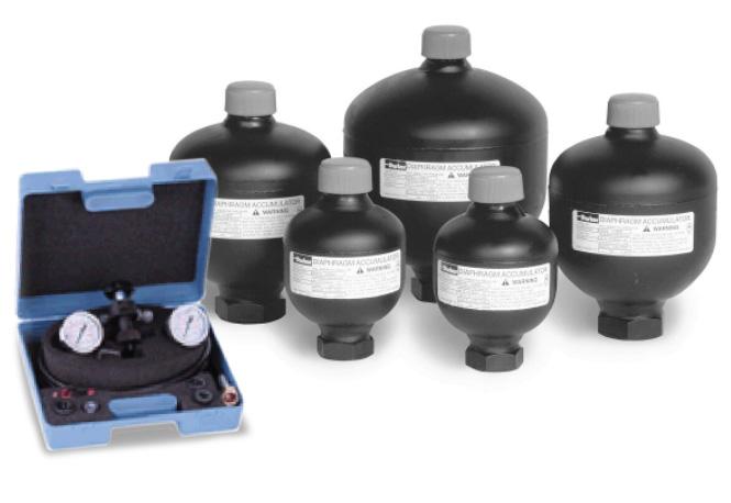 Piston, bladder, and diaphragm accumulators
